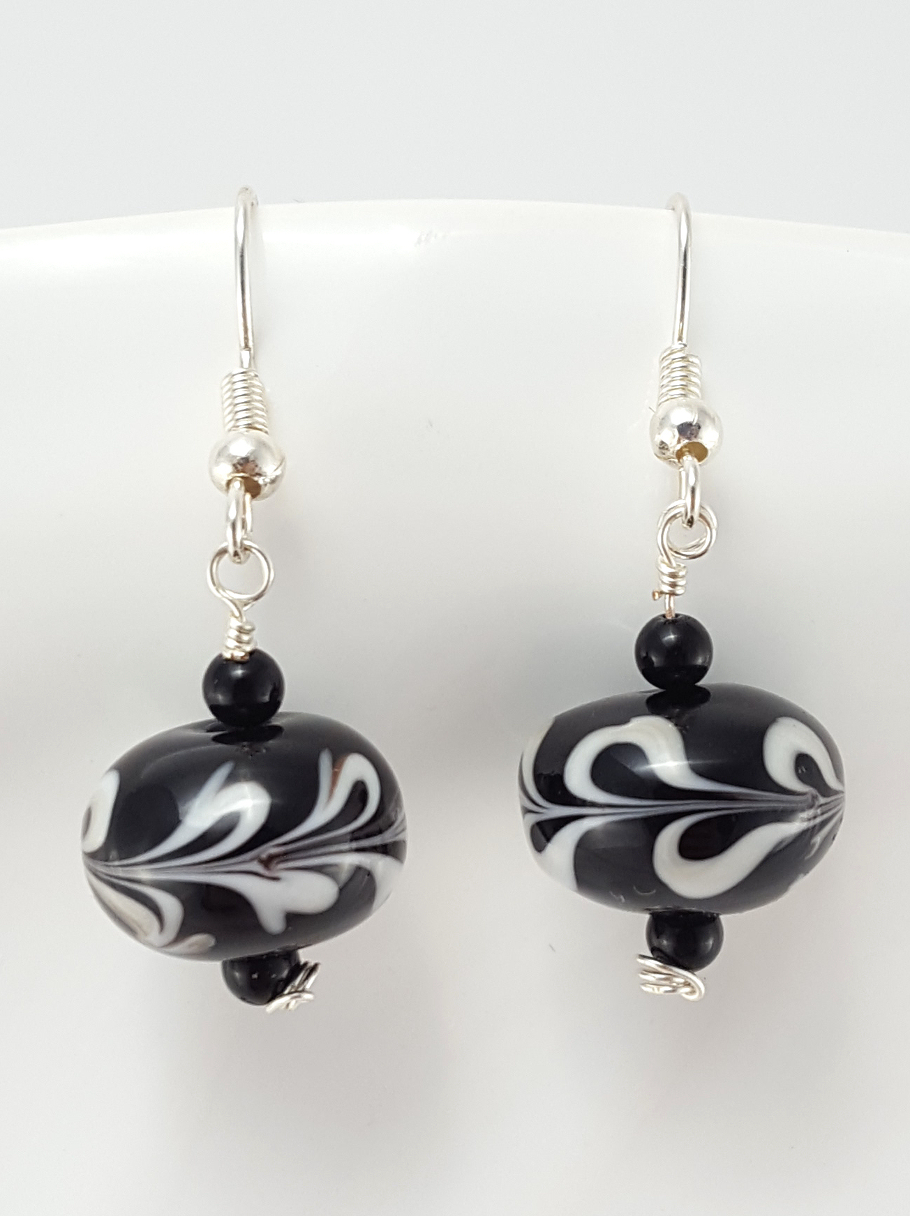 black and white lwork glass earrings extraversions