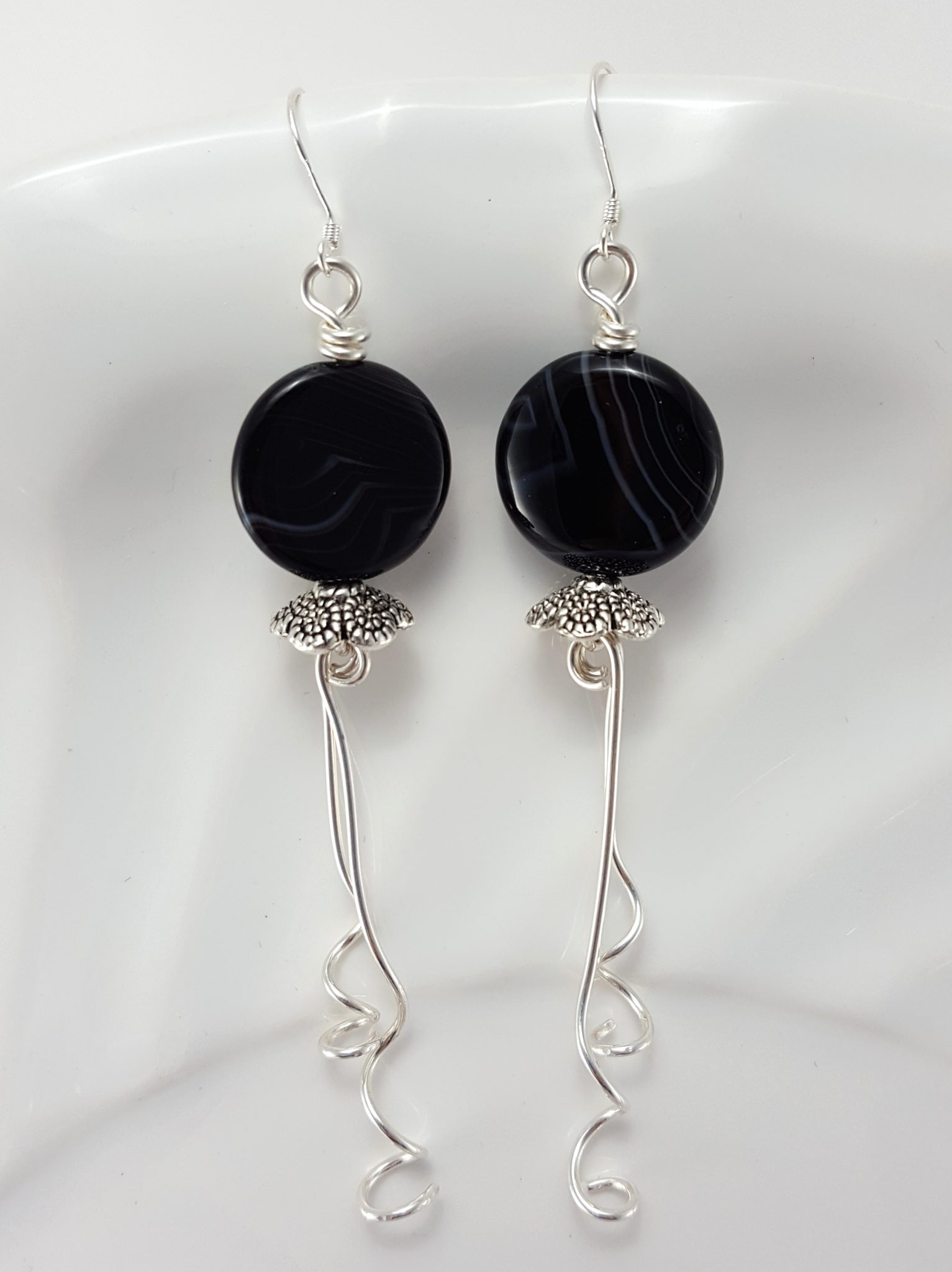 Sardonyx Earrings with Silver Trailing Wire Strands – Extraversions ...