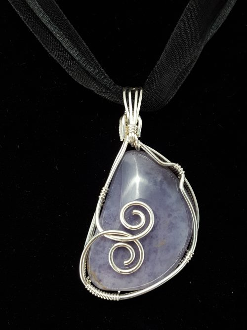 lavendar purple pendant with silver wire wrapping