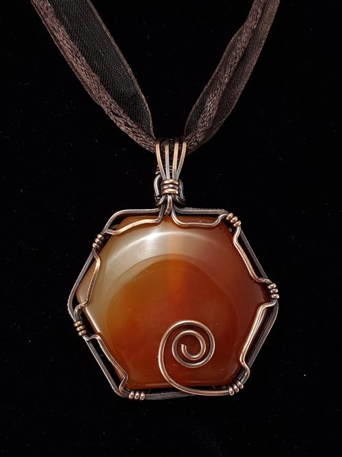 complex pendant, sacred geometry, spiral, wire