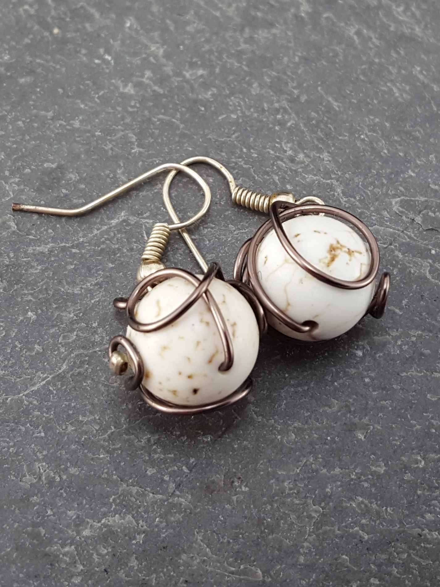 White Howlite and Antiqued Copper-Tone Wire Earrings – Extraversions ...