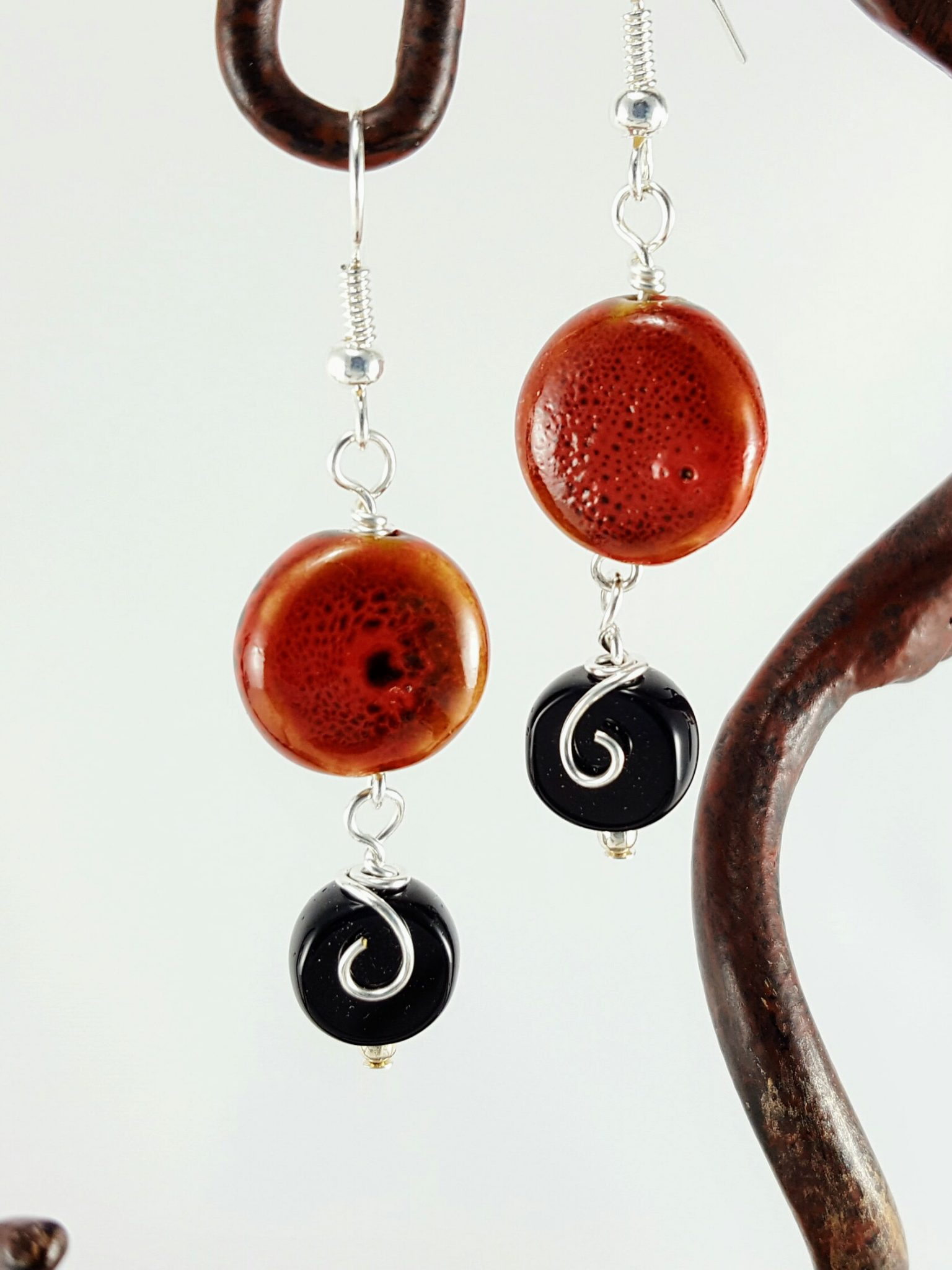 onyx coral at j chain jewelry hook gold cvoral earring and black of dangle master karat pearl earrings id mother with