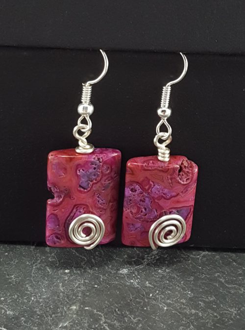 Fuchia crazy lace agate rectangle earrings with silver-plated wire spirals.