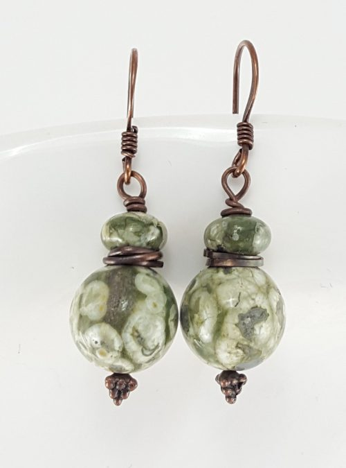 Rainforest jasper earrings with copper findings and earwires. Can upgrade to steel or sterling earwires for $2.