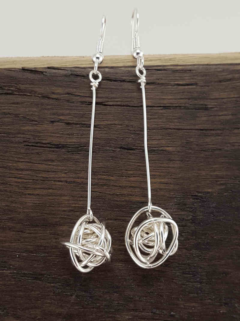 Dangling Silver Wire Ball Earrings – Extraversions Jewelry by Lalah ...
