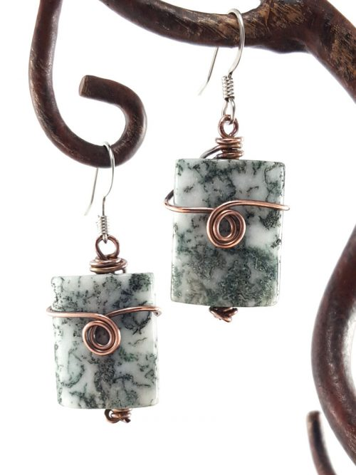 Moss agate and copper wire