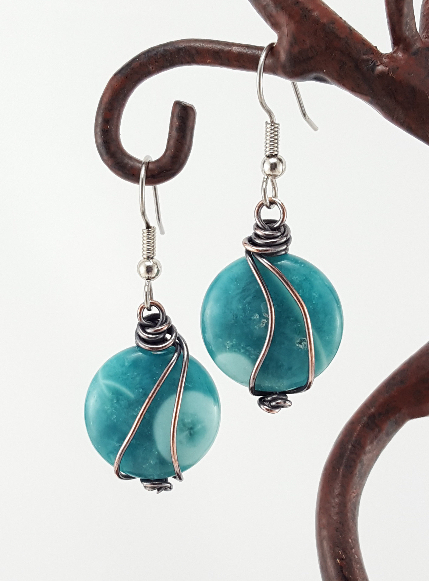 Aqua Blue Stones with Copper Accents – Extraversions Jewelry by ...