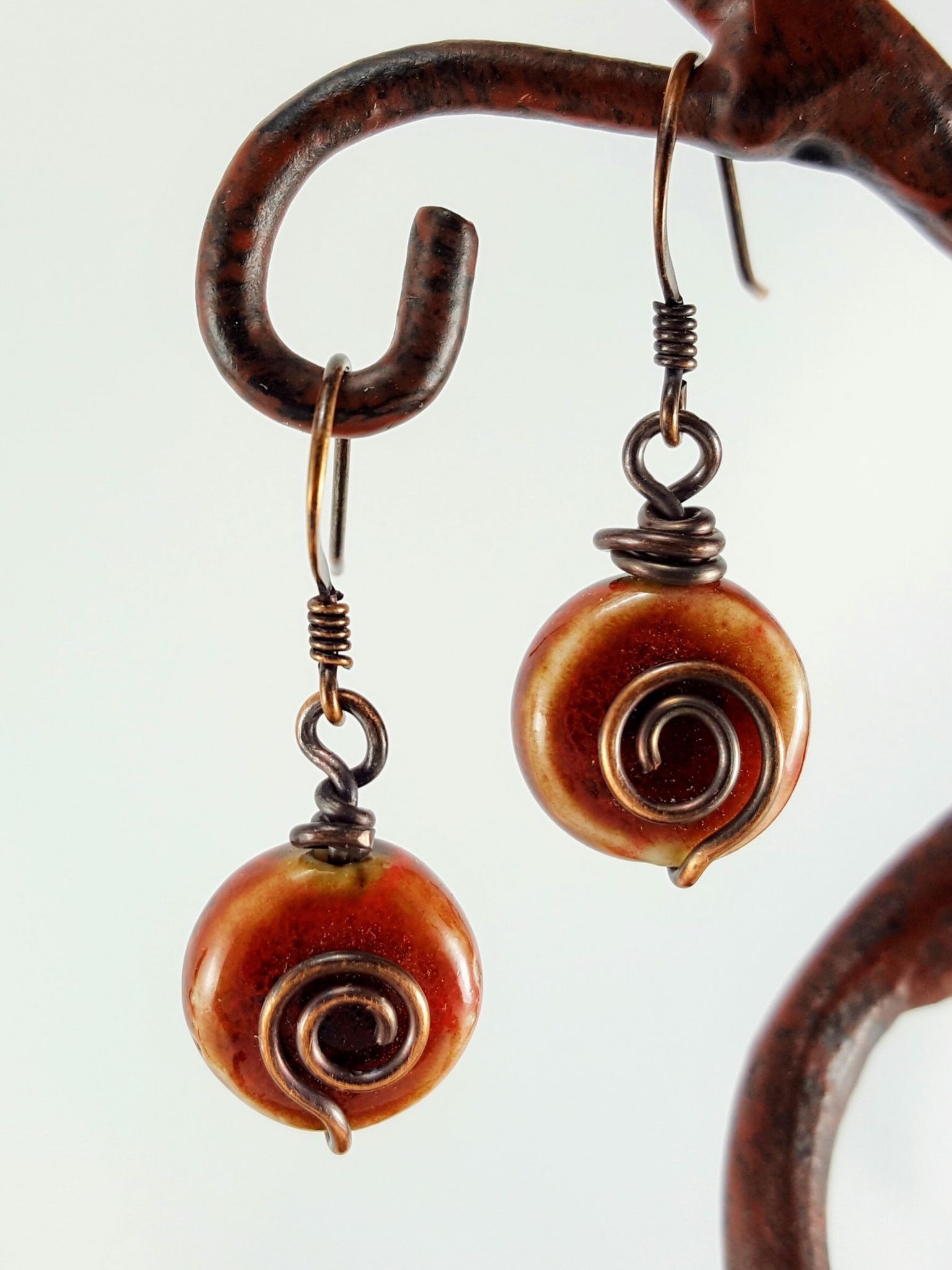 Red Ceramic Beads With Copper Wire Spirals Extraversions Jewelry