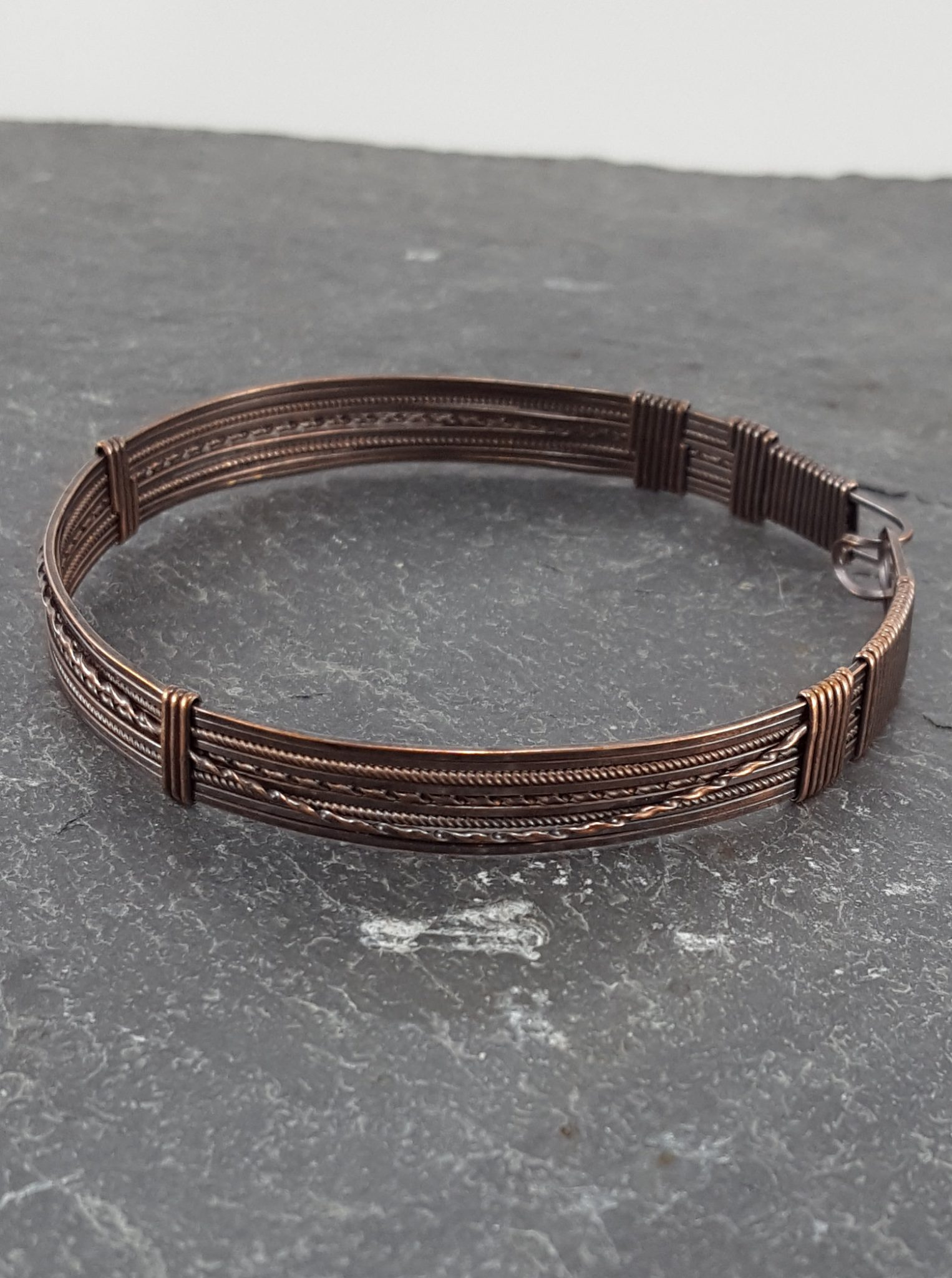 Copper Wire Wrapped Bangle with Textured Wire Ornamentation ...