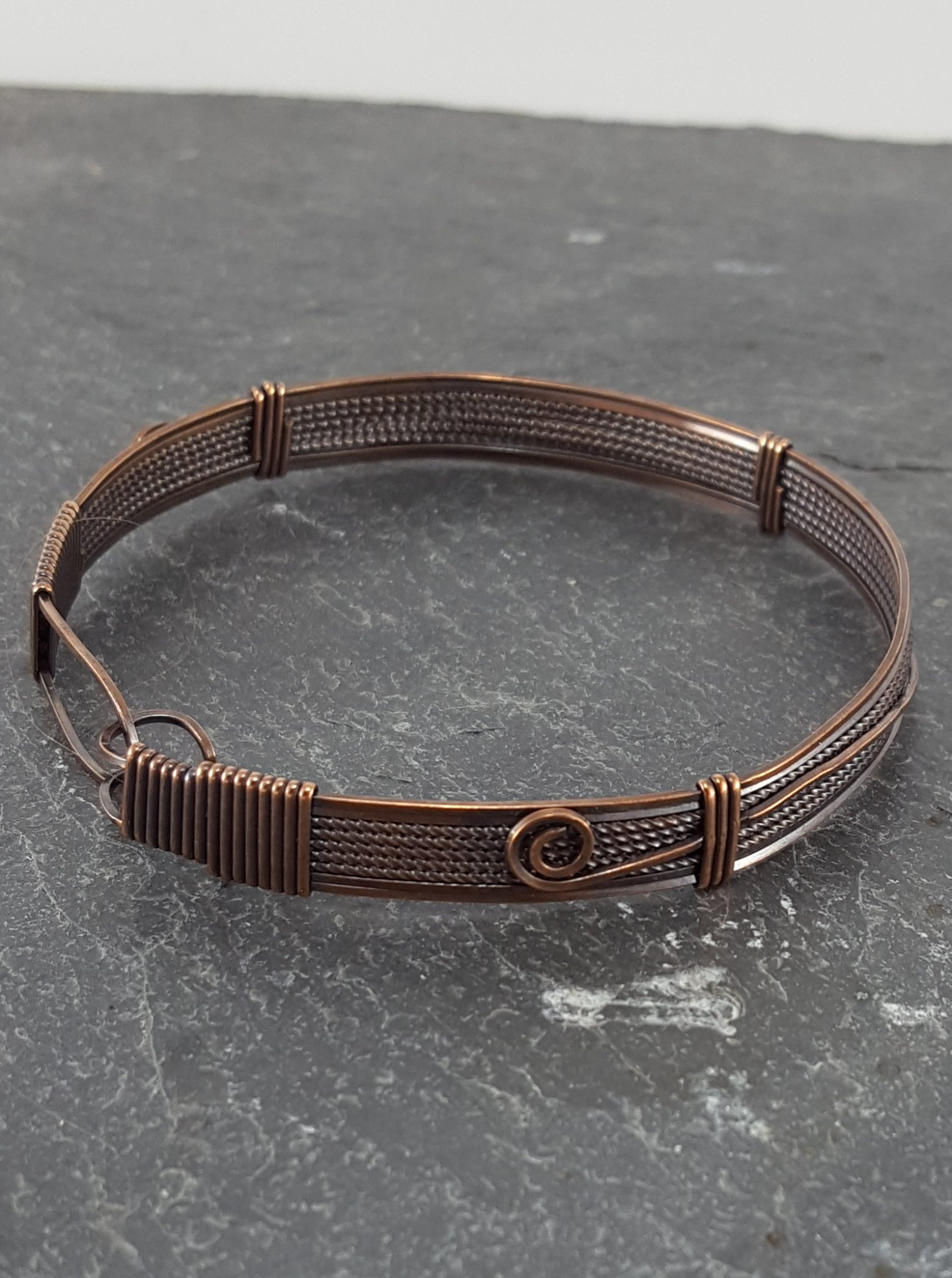 Copper Wire Bangle with Spiraling Ornamentation – Extraversions ...