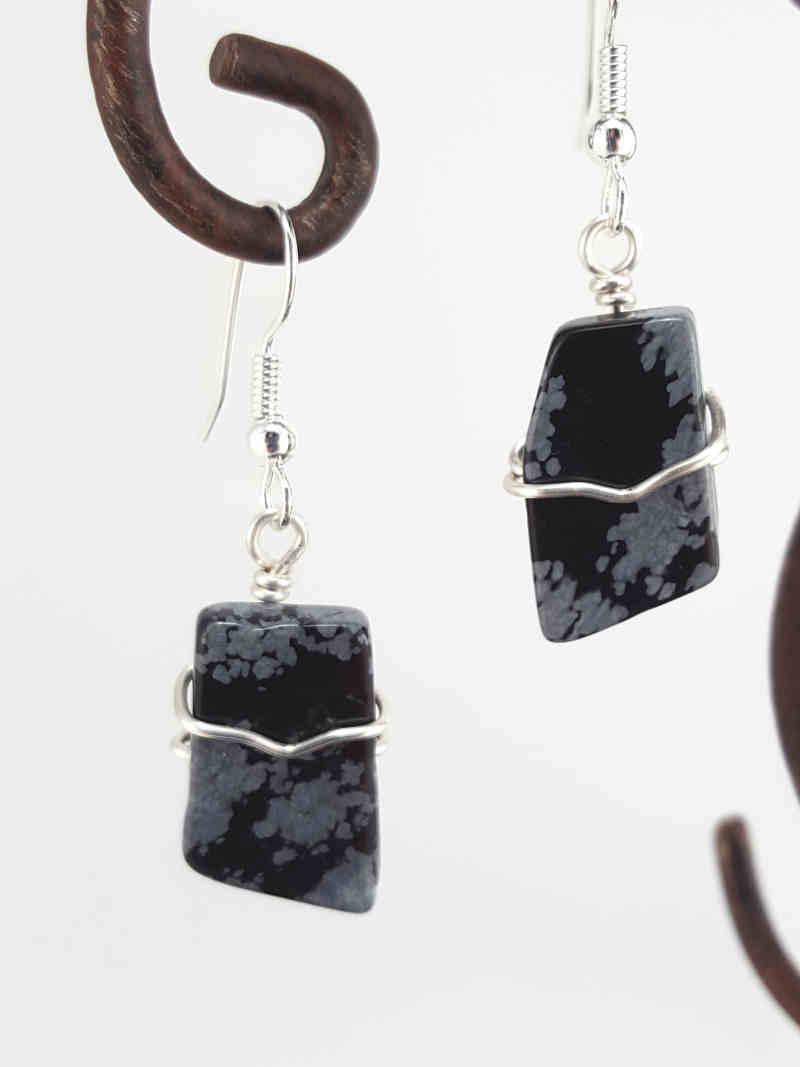 Home Earrings Snowflake Obsidian